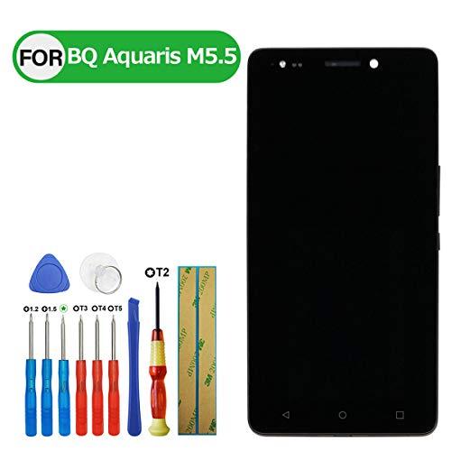 Swark - Pantalla LCD compatible con BQ Aquaris M5.5 (5,5 pulgadas, táctil, con herramientas)