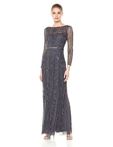 Adrianna Papell Women's Beaded Long Dress, Gunmetal, 2 (Apparel)