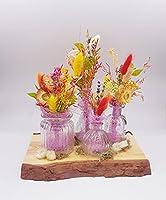 Tischgesteck Handmade, Sommer, Grläser, Holz, Trockenblumen, bunt, Haltbar