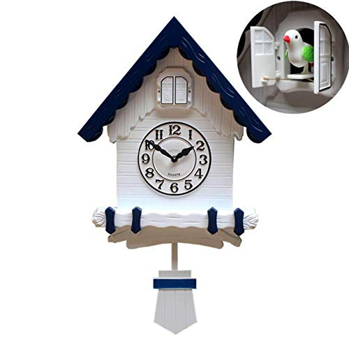 LIYACK Moderne Kleine Kuckucksuhr Design Wanduhr, Pendel Wanduhr Design Modern Pendeluhr Kuckuck Uhr Holz Zeit Nachtruhe Chronometer,03