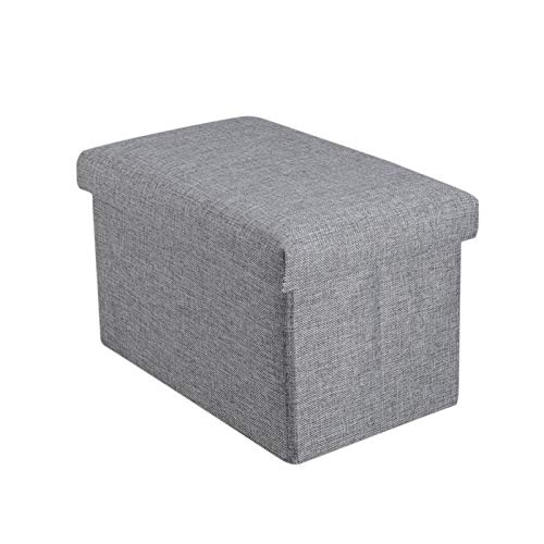 DSLK Storage Footrest Foldable Storage Ottoman with Top Folding Toy Chest Storage Box Linen Fabric Ottomans Bench Foot Rest for Bedroom Living Room