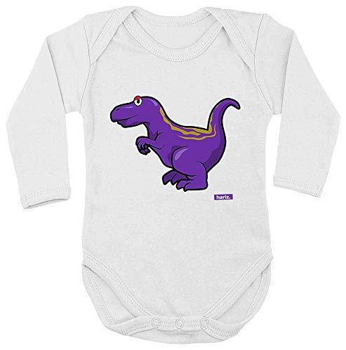 HARIZ Baby Body Langarm Allosaurus Dinosaurier T-Rex Tiere Inkl. Geschenk Karte Milchzahn Weiß 86-92