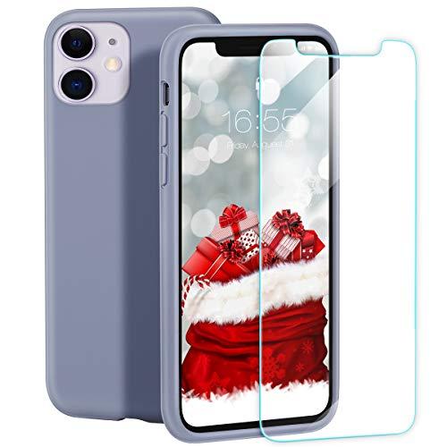 "zelaxy Funda de Silicona para iPhone 11 (6.1"") – Carcasa Rígida a Prueba de Golpes Antiarañazos con Forro de Microfibra Suave – Fina Ligera Suave al Tacto + Protector Pantalla –"