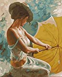 WLYUE Pintura de lienzo con diseño de mujer sosteniendo un paraguas amarillo por números, para decoración de la sala de estar, decoración del hogar, regalos de Navidad