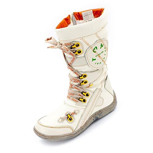 TMA Damen Winter-Stiefel 16366 Cremeweiß 36