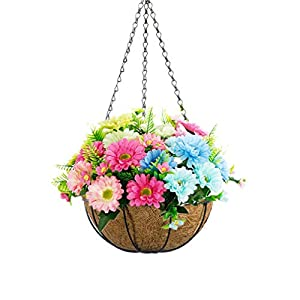Mynse Artificial Calliopsis Flowers Hanging Basket with Chain Silk Cosmos Flowers for Outdoor Balcony Decoration (A Small Basket and Artificial Flowers)