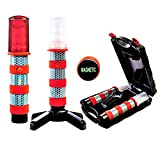 LED Emergency Roadside Flares Safety Strobe Light | Super Bright Battery Roadside Beacon Alert Flare Light Can Be Seen A Mile Away | Comes With A Convenient Carrying Kit