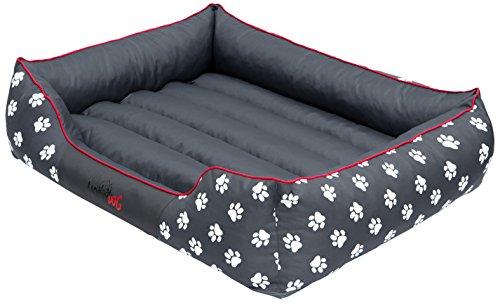 Hobbydog Hundebett Hundekissen Hundesofa Hundekorb Tierbett Verschiedene Größen und Farben Cordura Prestige (XXL - 110 cm x 90 cm x 25cm, 2 - Grau - weiße Pfoten)