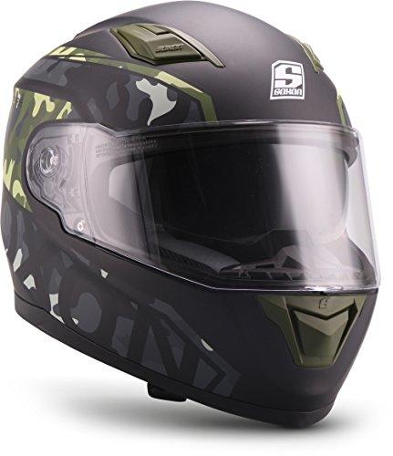 """SOXON® ST-1000 Race """"Camo"""" · Integral-Helm · Full-Face Motorrad-Helm Roller-Helm Scooter-Helm Cruiser Sturz-Helm Sport Urban MTB · ECE 22.05 Sonnenvisier Schnellverschluss Tasche L (59-60cm)"""