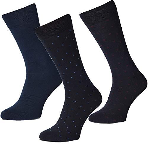 PAWO Calcetines de hombre, paquete de tres pares. 90% Algodón, 24x12x5cm, cómodos, suaves, duraderos, resistentes al desgaste y al estiramiento.