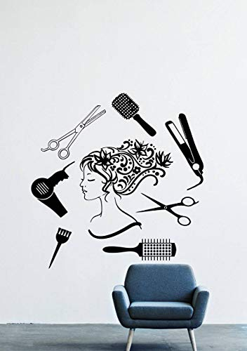 Beauty Salon Hair Spa Fashion Girl Woman Face Haircut Scissors Dryer Styling Murals Wall Decals Decor Vinyl Stickers SK2134 (w22 h22)