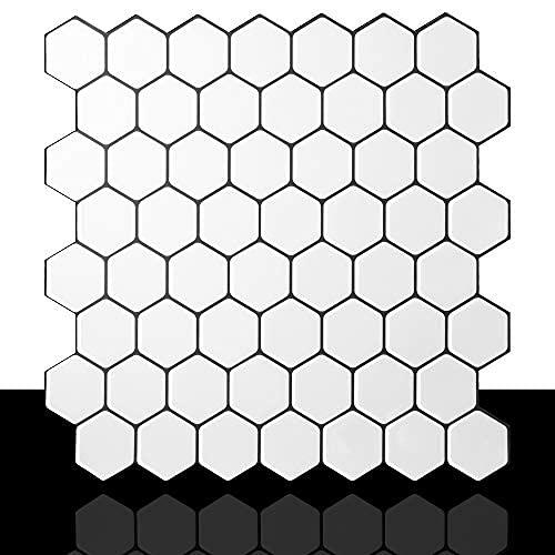 12 x 12 azulejos adhesivos para cocina, resistentes al agua (1, hexagonal)