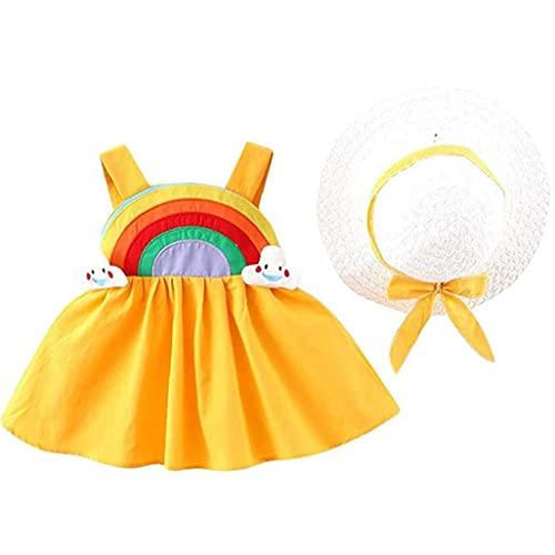 Falda de Arco Iris para niños de Verano sin Mangas para niños de Verano con Sunhat para niños de 6-12 m Amarillo 2pcs Conjunto de sombrillas