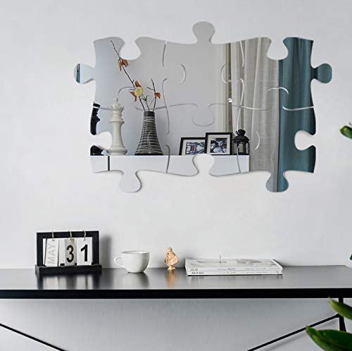 Jigsaw puzzle 3D Mirror Wall Stickers, 4/6PCS Mirror Art DIY Home Decorative Acrylic Mirror Wall Sheet Plastic Mirror Tiles for Home Living Room Bedroom Sofa TV Setting Wall Decoration Decor Decal