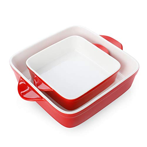 Sweese 514.204 Porcelain Baking Dish Set of 2, Square Lasagna Pans, 8 x 8 inch & 6 x 6 inch Non-stick Brownie Pan with Double Handle - Red