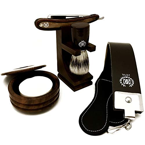 SHAVE READY Shaving Kit for Men Wet Shave - Safety Razor with 10 blades, Shaving Badger Hair Brush, Shaving Soap WOODEN CUT THROAT 6 PC MEN S STRAIGHT RAZOR SHAVING KIT GIFT SET