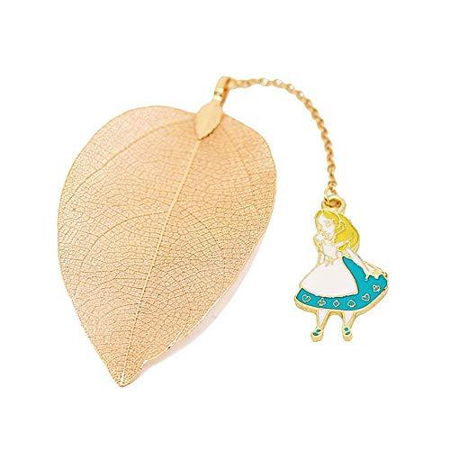 Foonee Alice nel paese delle meraviglie Leaf segnalibri, segnalibri assortiti metallo a forma di piuma segnalibri per adulti e bambini. Alice