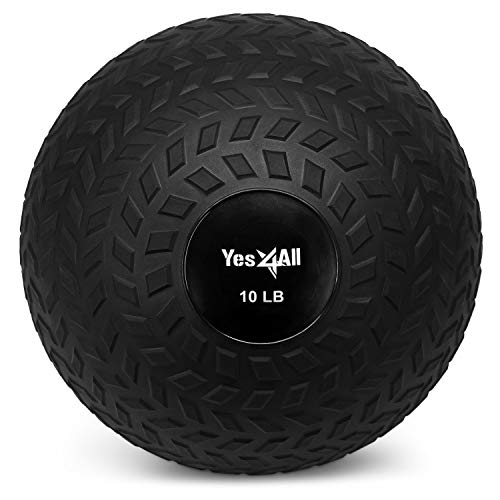 Yes4All 10 lbs Slam Ball for Strength and Crossfit Workout – Slam Medicine Ball (10 lbs, Black), A. Black - 10lbs, Model:JLMS