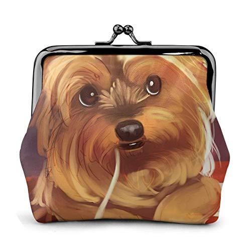 Yorkshire Terrier Essen Nudeln Hund niedlich Vintage Beutel Mädchen -Lock Geldbörse Geldbörsen Schnalle Leder Münze Geldbörsen Key Woman gedruckt