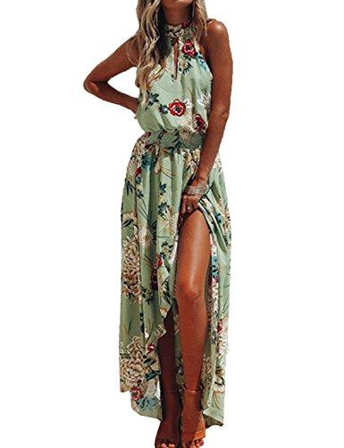 Donne Elegante Abito da Cerimonia Sera Lungo Schienale Fascia Vestito Senza Maniche Estivo Casual Floreale Fiori Fantasia Dress (S, 458-Verde Chiaro)
