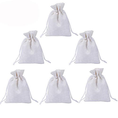 100pz Sacchetti Portaconfetti Bianchi Juta Bustine Bomboniere Confetti per Matrimonio Battesimo Compleanno Natale Regalo Gioielli