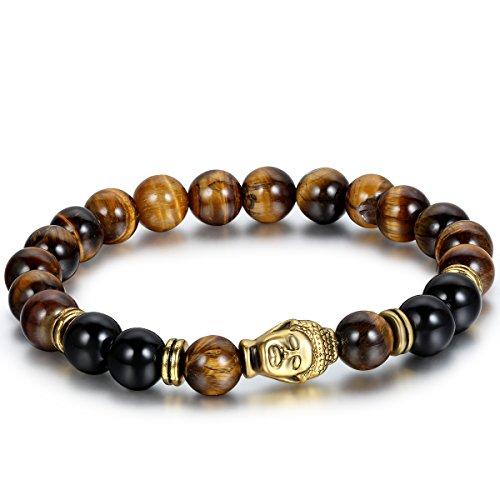 Flongo Men's Brown Stone Beads Yoga Antique Gold Buddha Bracelets,Prayer Link Bracelet