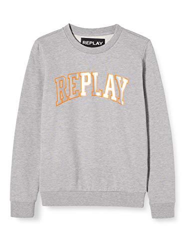 Replay Herren M3081 .000.21842 Sweatshirt, Grau (Light Grey Melange. M05), Large (Herstellergröße: L)