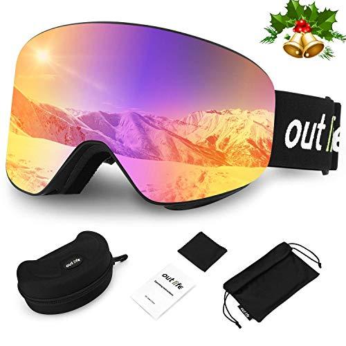 outlife Skibrille Snowboardbrille Hyperboloid Schneebrille OTG Anti-Fog UV400 Schutz Weitsicht Wechselobjektiv Rahmenlos Ski Goggles für Damen Herren Erwachsener Teenager Snowboard Skifahren