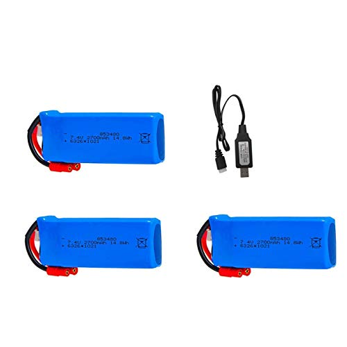 Grehod Batería Lipo Mejorada del 2700mAh y 7.4 v + Juego de Cargador para Syma X8W X8C X8G X8HC X8HW X8HG RC Quadcopter, Piezas de Repuesto de Drones Red