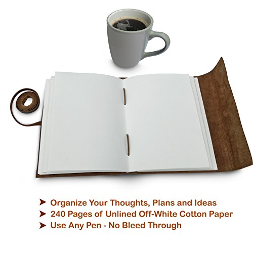 Leather Journal Tree of Life - Writing Notebook Handmade Leather Bound Daily Notepads for Men and Women Blank Paper Large 8 x 6 Inches - Gift for Art Sketchbook, Travel Diary and Journals to Write in