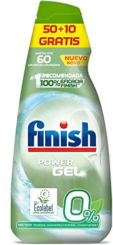 Finish Power Gel 0% Detergente Gel Lavavajilla con Certificado Ecológico - 60 Dosis