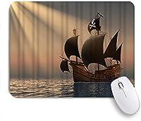 VAMIX マウスパッド 個性的 おしゃれ 柔軟 かわいい ゴム製裏面 ゲーミングマウスパッド PC ノートパソコン オフィス用 デスクマット 滑り止め 耐久性が良い おもしろいパターン (Rays of the Sun 3Dの海軍海賊船)
