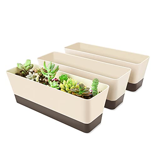 Window Box Planter, Suream 3 Pack 12x3.8 Inch Rectangle Herb Planter With Tray, Modern Indoor Small Succulent Cactus Plastic Plant Pot For Windowsill, Garden Balcony, Home Office Outdoor Decoration