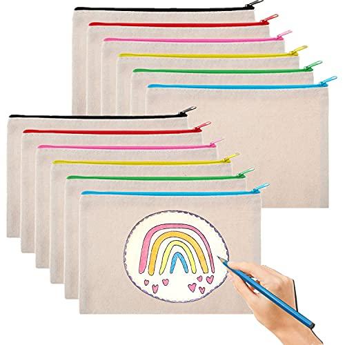 10 sacchetti vuoti in tela con cerniera, per fai da te, per trucchi fai da te, con stampa a sublimazione, in tela, per pittura, fai da te