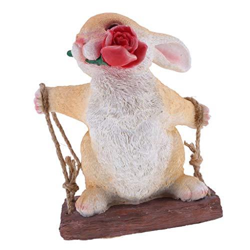 Tubayia Columpio de resina con forma de animal, figura colgante para jardín, decoración (conejo # 2)
