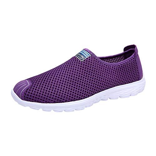 Xmiral Mesh Sneakers Atmungsaktiv Damen Einfarbig Gummisohle Laufschuhe Sportschuhe rutschfest Barfuß Bootsschuhe Wasserschuhe Badesandale(Violett,37 EU)