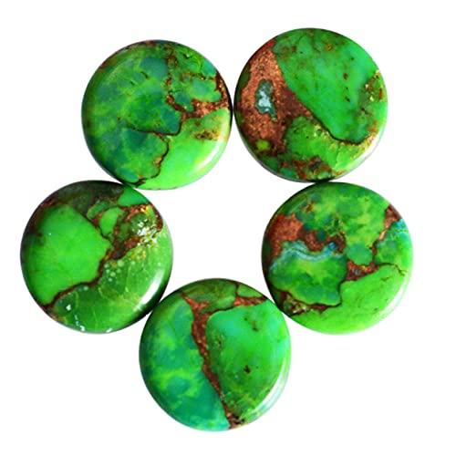 Lote de 5 piezas de turquesa de cobre verde, cabujones de forma redonda, piedras preciosas de turquesa con parte trasera plana calibradas para hacer joyas, cobre liso, 24119