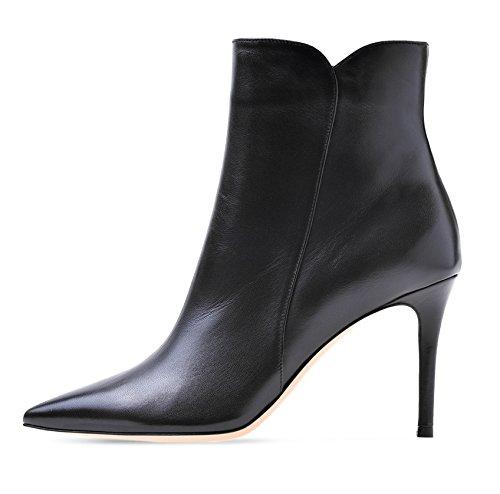 Soireelady Damen Ankle Boots |Stiefeletten Zipper | Leder-Optik Schuhe | 8 cm High Heels | Kurzschaft Stiefel mit Absatz Beige EU37