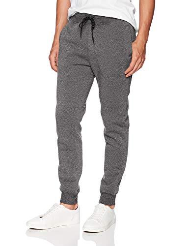 WT02 Men's Basic Jogger Fleece Pants, Marled Grey, Medium