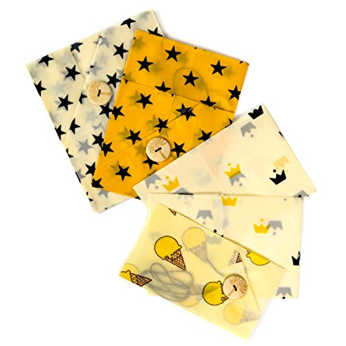 Reusable Beeswax Food Wrap (5 Pack) – Bread, Sandwich & Cheese Wraps   Biodegradable, Sustainable, Eco-Friendly Food Storage Wrap by Lemon Tree   100% Plastic Free Organic Food Wrap, Easy-Seal Button