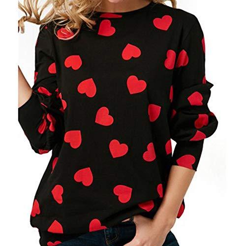 KEERADS Women Sweatshirt Camisas Casuales de Manga Larga con Estampado de Corazones Sudaderas para Mujer