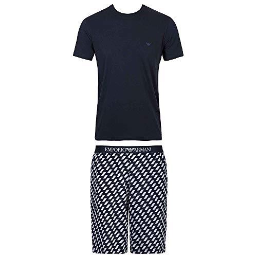 Emporio Armani Summer Pijama para hombre, camisa de color sólido con logotipo pequeño y pantalones cortos estampados.