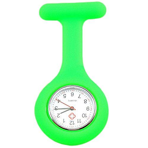 Sanwood Schwesternuhr zum Anstecken, Silikon, Uhr für Pflegepersonal Gr. One size, grün