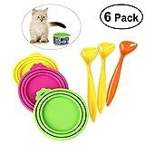 UEETEK 6 Stück / Set,3pcs Silikon Tiernahrung können Abdeckungen Hund Katzenfutter kann Abdeckung mit 3pcs Essen Löffel(Zufällige Farbe)