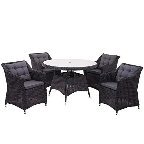 Mendler Poly-Rattan Garnitur HWC-F51, Garten-/Lounge-Set Sitzgruppe Tisch+4xStuhl, rundes Rattan anthrazit Kissen dunkelgrau