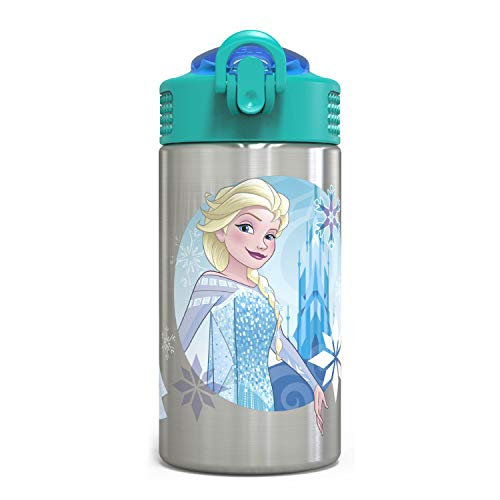 Zak Designs Frozen 15.5oz Stainless Steel Kids Water Bottle with Flip-up Straw Spout - BPA Free Durable Design, Frozen Girl SS
