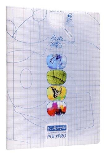 Calligraphe 18189C - Un cahier piqué de travaux pratiques(gamme 8000 de Clairefontaine) 96 pages 24x32 cm 90g grands carreaux et unis, couverture polypro (plastique), Incolore