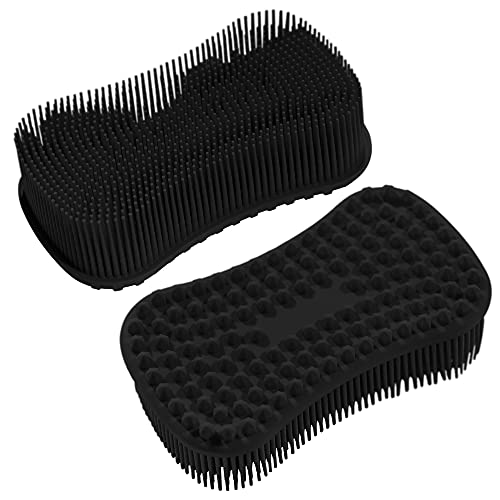 ELFRhino Silicone Body Scrubber, Gentle Exfoliating Cleaning Loofah, Soft Body Brush, SPA Massage Skin Care Tool, Scalp Massager for Women and Men, 2 Pack (Black+Black)