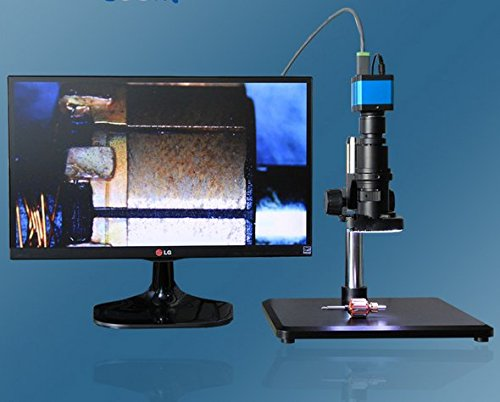 Gowe 26-189X Digitales Videomikroskop-Set + 14MP HDMI-Mikroskop Kamera + LED-Lichtquelle Stage + Halterung + TF-Karte + Maus