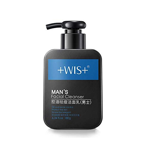 WIS Men's Face Wash Oily Skin, Nature Charcoal Purifying Facial Cleanser Deep Cleaning Sensitive Skin, Oil Control, Remove Blackheads, Anti-Acne, 185ml